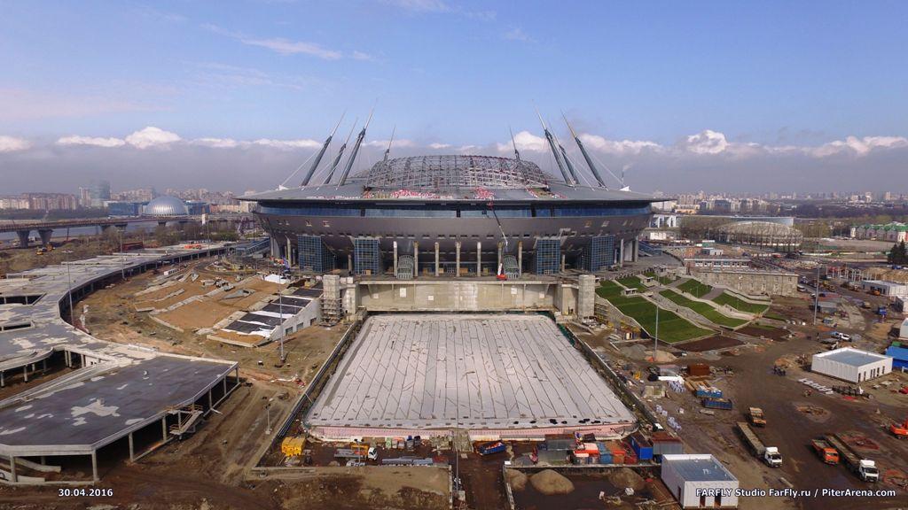 Стадион на Крестовском острове с воздуха