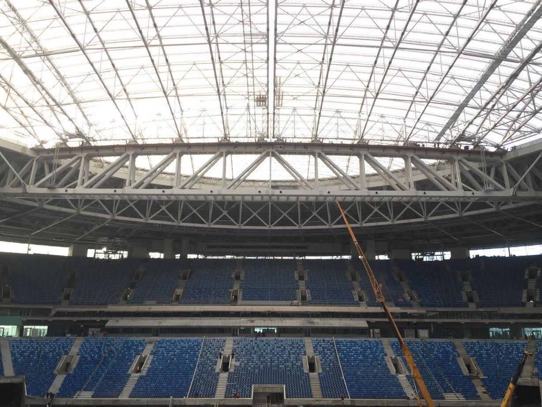 На новом петербургском стадионе успешно прошли испытания раздвижной крыши