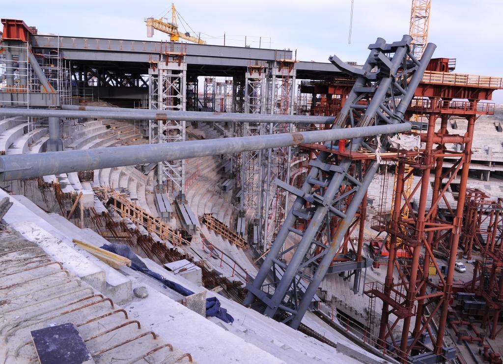 «Трансстрой» ведет подготовку к монтажу крыши стадиона на Крестовском острове